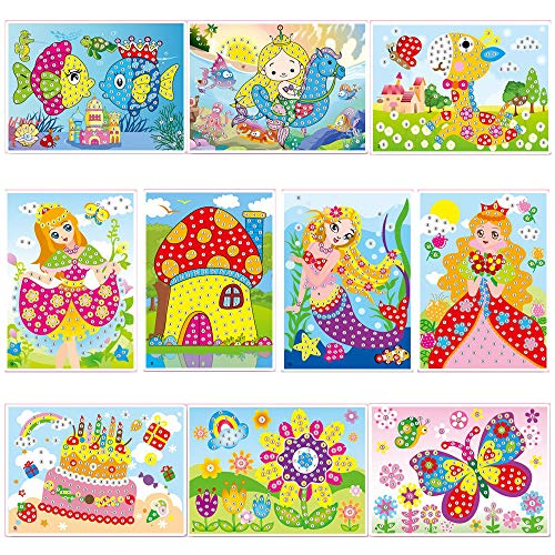 lizipai Crystal Diamond Mosaic Sticker Painting Kids Children Kindergarten Educational DIY Crafts Toys -10PCS Different -