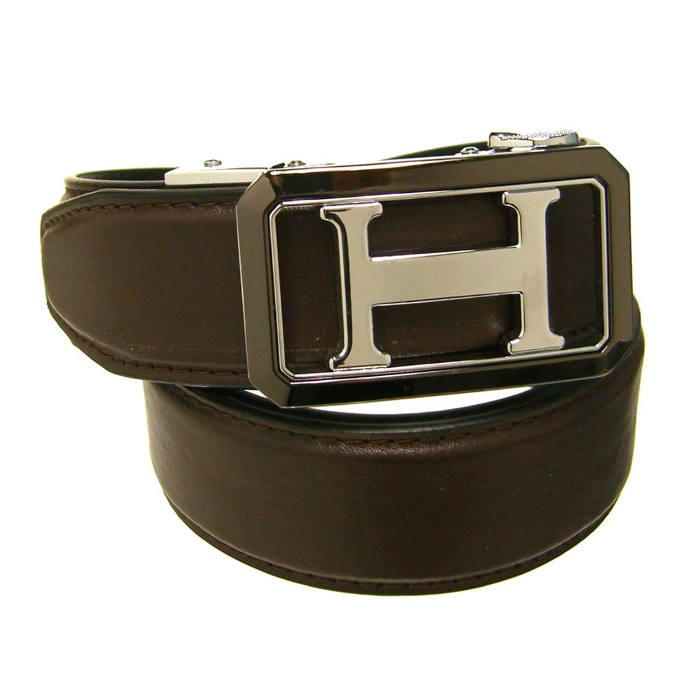 Mens Brown 1.38 Wide Leather Belt with Automatic Buckle