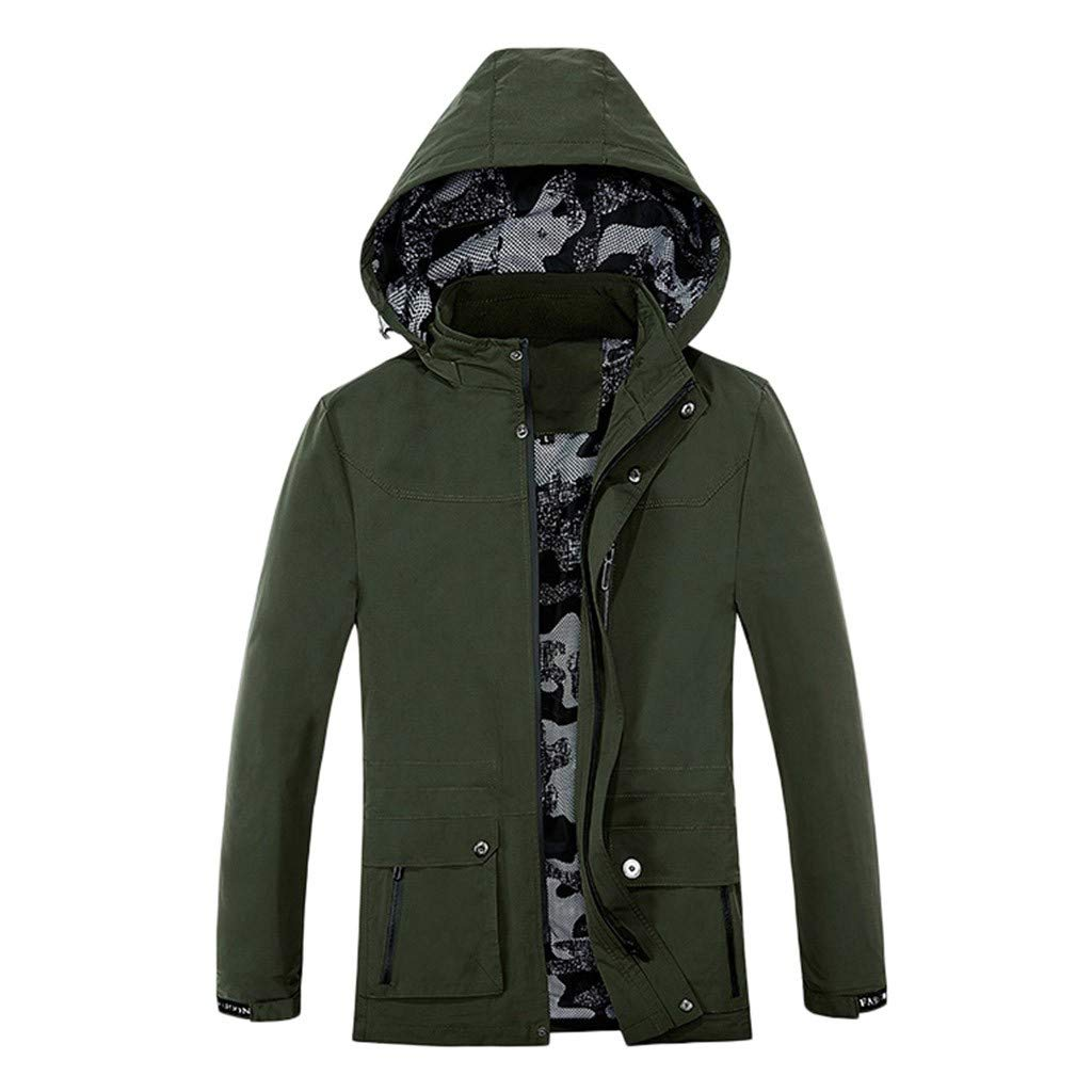 Allywit Plus Size Men's Winter Thick Warm Pocket Jacket Coat Pocket Cotton Long Sleeve Outwear Thicken Outdoor Overcoat Army Green by Allywit-Mens