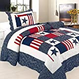 Alicemall Boy's Cotton Quilted Patchwork Bedspread Soft Cotton Percale Bedspread Single Bed Cover Living Room Blanket 150cm*200cm/59in*79in (pattern 19)