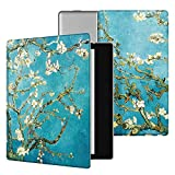 Ayotu Colorful Case for Kindle Oasis-(9th Gen, 2017 Release Only) Lightweight Premium PU Leather Cover with Auto Wake/Sleep, Strong Adsorption for All-New 7''Kindle Oasis Case,KO-09 The Apricot Flower