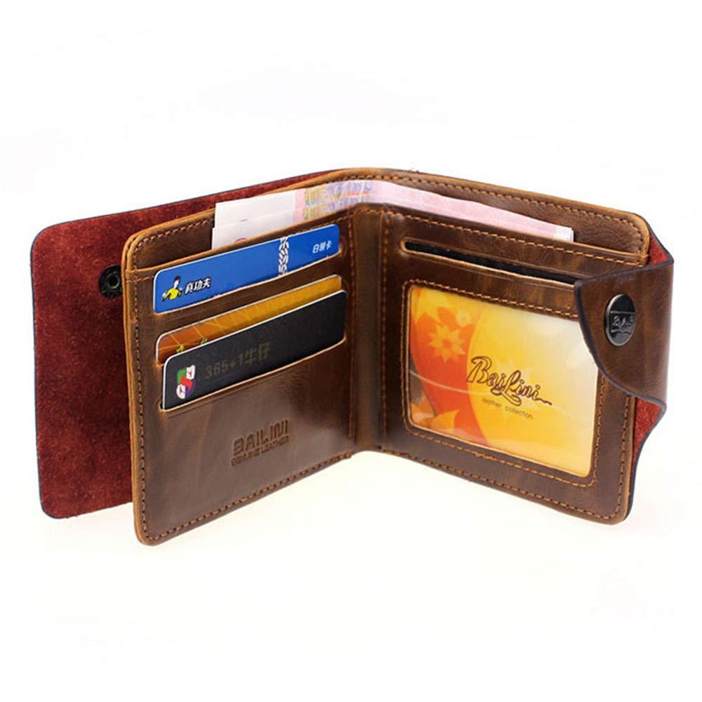 Sanyaleishen New Mens Retro Genuine Leather Bifold Wallet Credit ID Card Slim Purse B
