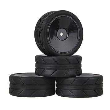 Youzone 12 mm Hex Negro Flecha Neumáticos Patrón caucho y plástico plana disco liso Ruedas llantas para RC 1:10 carretera coche de carreras (paquete de 4): ...