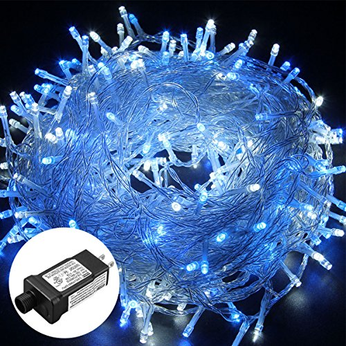 low voltage 8 modes 250 leds 50m164ft dimmable fairy string lights for bedroom patio garden gate yard party wedding christmas decoration white blue - Blue And White Outdoor Christmas Decorations