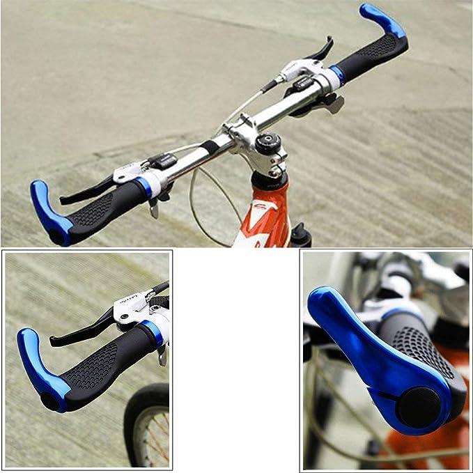 Blue Rubber Mountain Cycling Bicycle Bike MTB Lock-On Handlebar Grips Bar Ends
