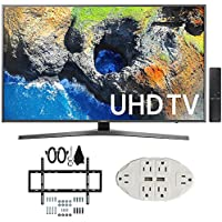 Samsung UN55MU7000 54.6 4K Ultra HD Smart LED TV (2017 Model) w/ Wall Mount Bundle Includes, Slim Flat Wall Mount Ultimate Bundle Kit & Transformer Tap USB w/ 6-Outlet Wall Adapter and 2 Ports