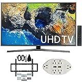 Samsung UN55MU7000 54.6 4K Ultra HD Smart LED TV (2017 Model) w/ Wall Mount Bundle Includes, Slim Flat Wall Mount Ultimate Bundle Kit & Transformer Tap USB w/ 6-Outlet Wall Adapter and 2 Ports