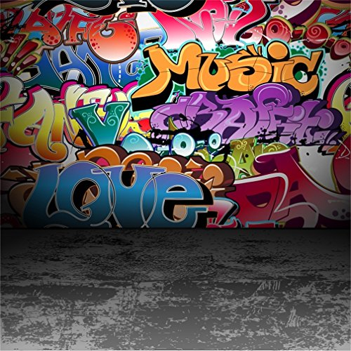 CSFOTO 8x8ft Background for Graffiti Wall Cement Floor Photography Backdrop Hip Hop Love Rock Music 80s 90s Party Decor Paint Wall Grunge Abstract Celebration Photo Studio Props Vinyl Wallpaper -
