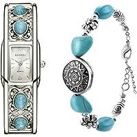 Souarts Ensemble Coffret Cadeau 1 Montre Cadran Rectangle 1 Bracelet Bangle pour Femme