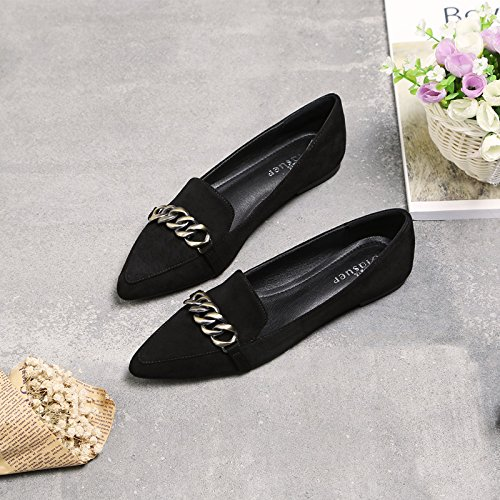 pointed thin suede Women's flat Black shoes shoes wBXXxqTI