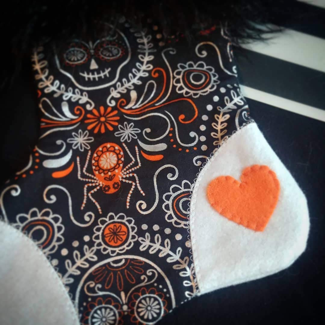 Handmade Holiday Decor Spooky Halloween Stocking Orange /& White Paisley Sugar Skull Black Fur