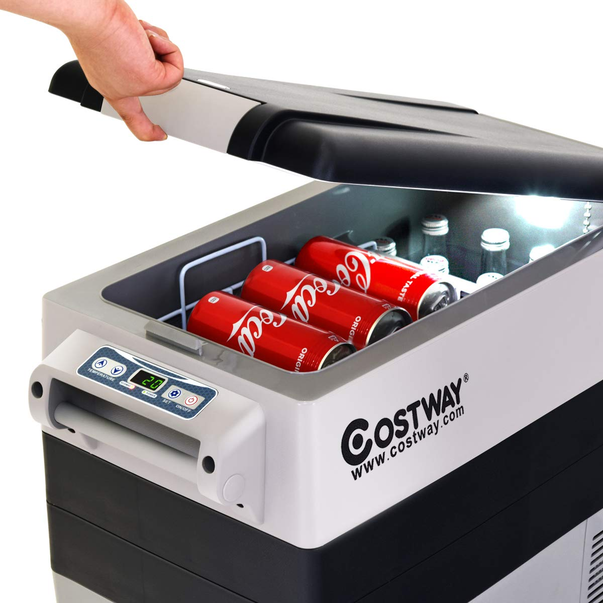 COSTWAY Compact Car Travel Refrigerator Freezer Portable Compressor Mini Fridge For Car and Home Travel Truck Party 54 Quart Camping Picnic Outdoor