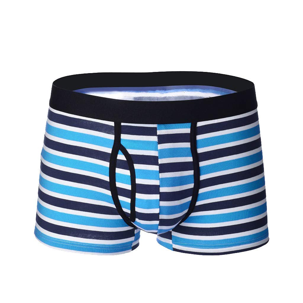 Jhualeek Mens Stripes Boxer Briefs No Ride-up Ultra Soft Breathable Comfortable Cotton Sport Underwear