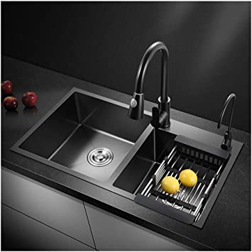 Gsf Basin Double Bowl Kitchen Sink 750mm X 400mm Water Tap Set Flush Mount Black Nano 304 Stainless Steel Amazon Com
