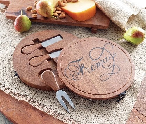 Cheese Boards | Round w Cheese Serving Utensils | Mud Pie Gifts