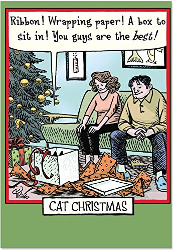 (12 Boxed 'Cat Christmas' Holiday Cards with Envelopes (4.75 x 6.625 Inch), Cute Feline & Family Cartoon Christmas Cards, Happy Holidays with Kitty & Christmas Presents Cards)