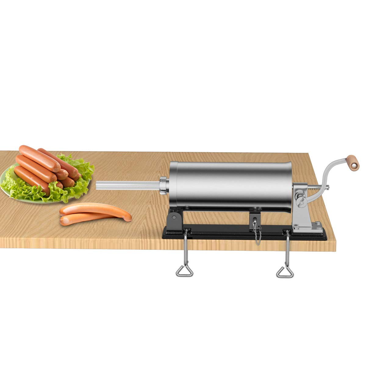 Goplus 6Lb/3.6L Horizontal Sausage Stuffer Maker Stainless Steel Meat Filler Kit w/ 4 Sizes of Food-Grade Sausage Tubes, Commercial Home Use by Goplus