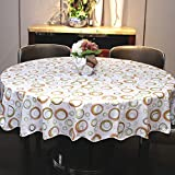 Water-proof large round table cloth Pvc oil-free cleaning round table cloth Garden home hotel plastic tablecloth-R Diameter:152cm(60inch)
