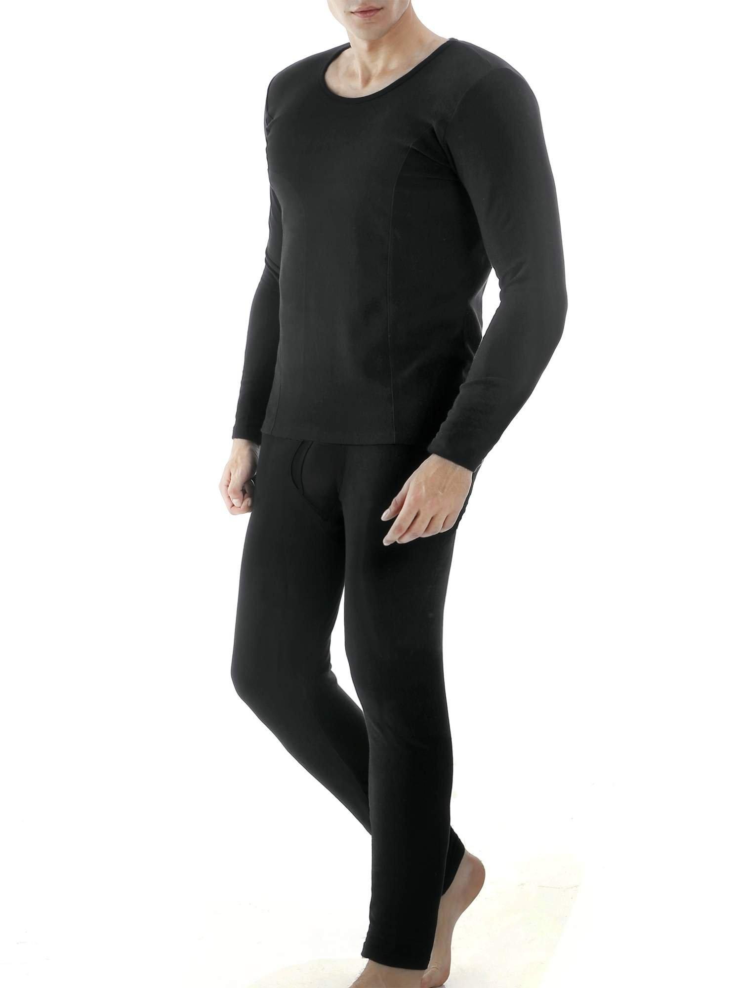 Ekouaer Men's Winter Thermal Long Sleeve Shirts&Fleece Lined Leggings(Black,Medium)
