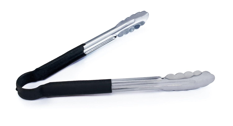 Metaltex Pinzas para Barbacoa 30 cm, Acero Inoxidable, con Mecanismo de Bloqueo Color Plateado