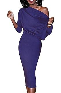 Simple-Fashion Donna Sexy Spalla Nuda Maniche 3 4 Vestito dalla Matita Slim  Festa a758479381b