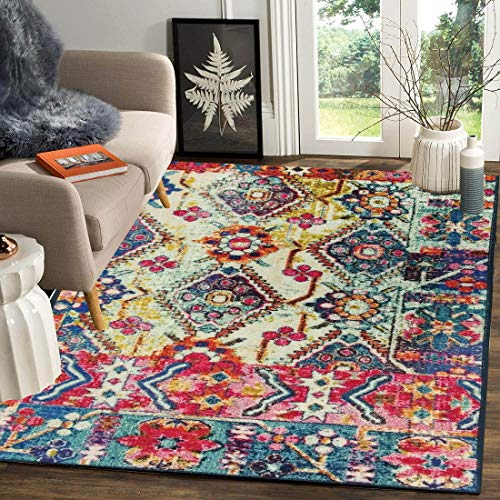 Status 5 x 7 Feet Multi Printed Vintage Persian Carpet Rug Runner for Bedroom Living Area Home with Anti Slip Backing