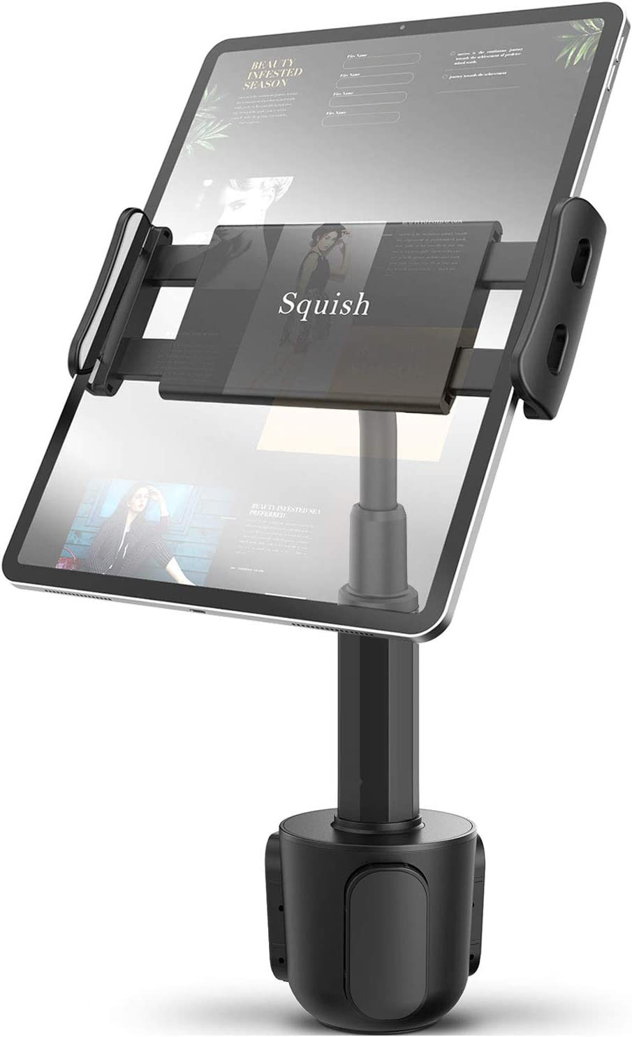 """Squish Car Cup Holder Tablet Mount, Universal Tablet Holder for iPad Pro/Air/Mini, Kindle,Tablets Nintendo Switch Smartphones, Compatible with 4.4"""" to 11"""" Devices"""