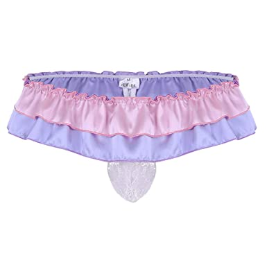 8a64f784284a iEFiEL Men's Sissy Floral Lace Pouch Ruffled Bikini Thong Crossdress  Underwear Purple Medium(Waist:
