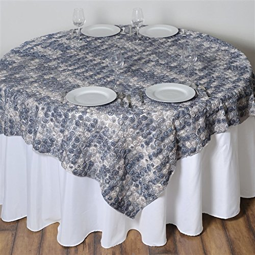 - 72 Inch X 72 Inch Triple-Tone Mini-Rosettes Table Overlays - Silver Umbre