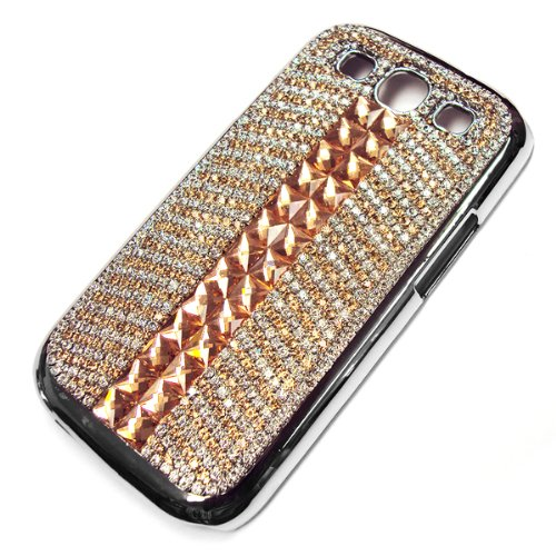 Swarovski Crystal Diamond Squares Curved Pattern Design Case Cover for Samsung Galaxy S3S