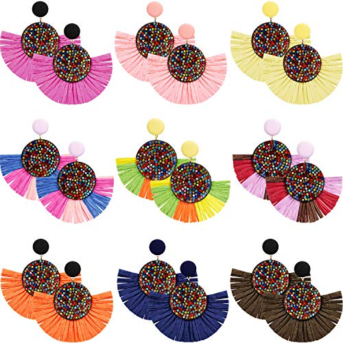 9 Pairs Tassel Hoop Earrings Bohemia Fan Shape Drop Earrings Dangle Hook Eardrop for Women Girls Party Bohemia Dress Accessory (Multicolor H)