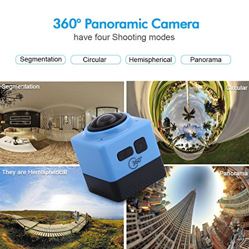 Floureon Cube 360 Degree Wide Angle Action Sports Camera Video DV WIFI H.264 1280x1042 Panorama Camera (Blue) Floureon