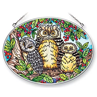 Amia 41377 What a Hoot Owls 7 by 5-1/2-Inch Oval Sun Catcher, Medium