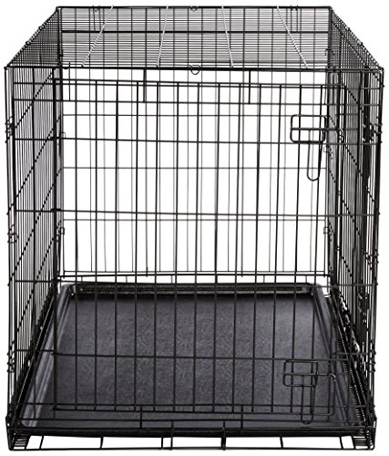 Amazonbasics double door folding metal dog crate large for Double door with dog door