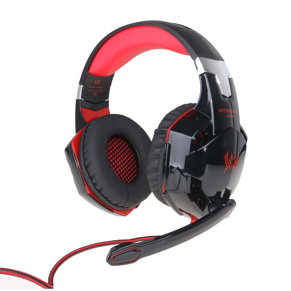 dfnbrhg G2000 Stereo Gaming Headset, Bass Over-Ear Headphones with Mic, LED Lights and Volume Control for Laptop, PC, Mac, iPad, Computer,Smartphones,Blue