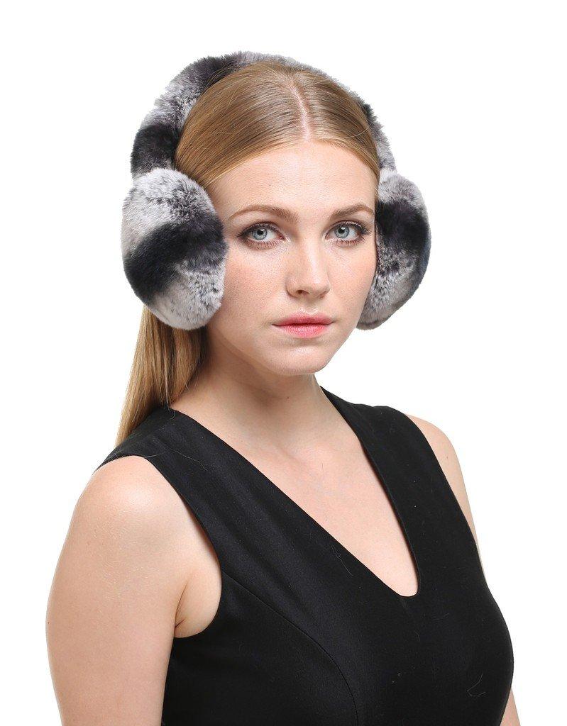 Vogueearth Women'Real Rex Rabbit Fur Winter Warmer Earmuffs Black-Gray