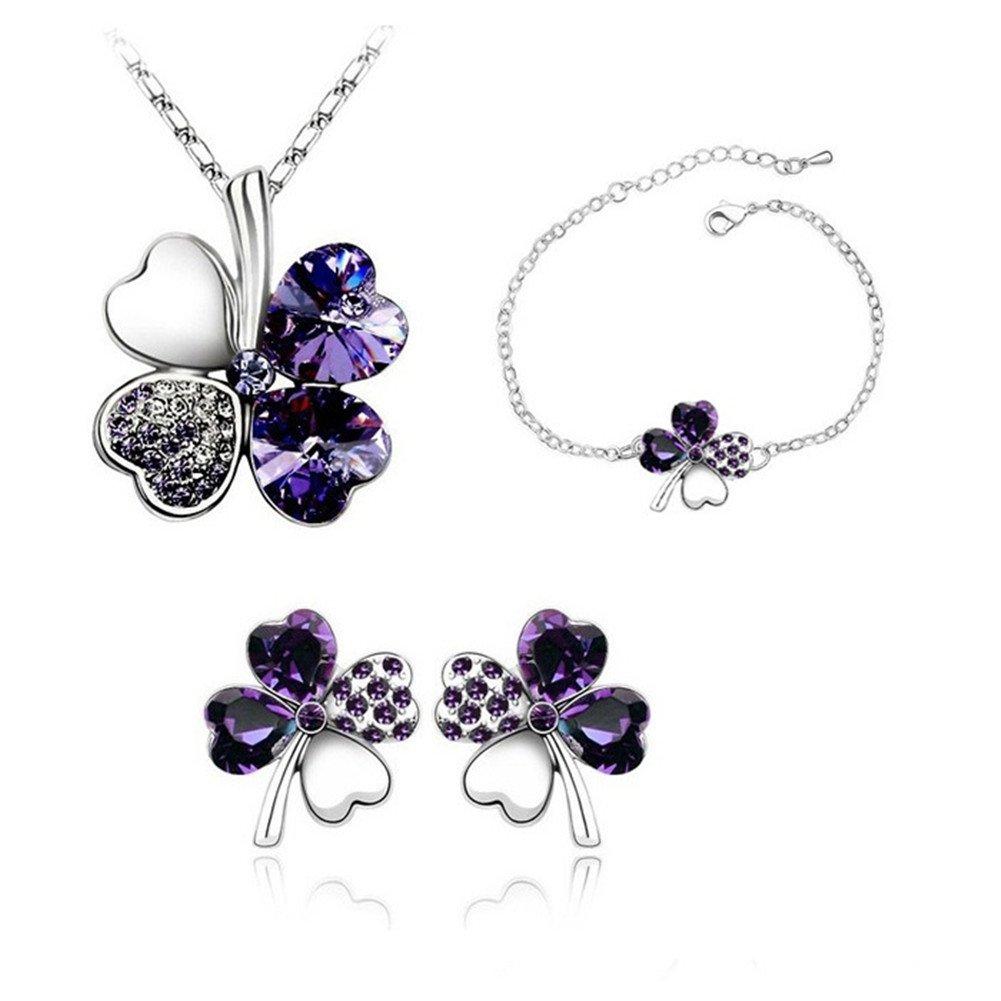 Uuouu Lucky Trèfle à quatre feuilles Bijoux Femme Cristal Collier, Bracelet et Boucles d'Oreilles (lot de 3)