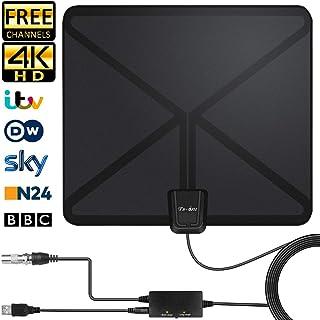 Antenne TV Intérieur Puissante, Amplificateur Signal Câble Coaxial Qui S'étend 5 mètres Longueur, Soutien Smart TV 1080P HD 4K VHF UHF FM,l'antenne Numérique avec Réception Gratuite-130 KM-Gamme