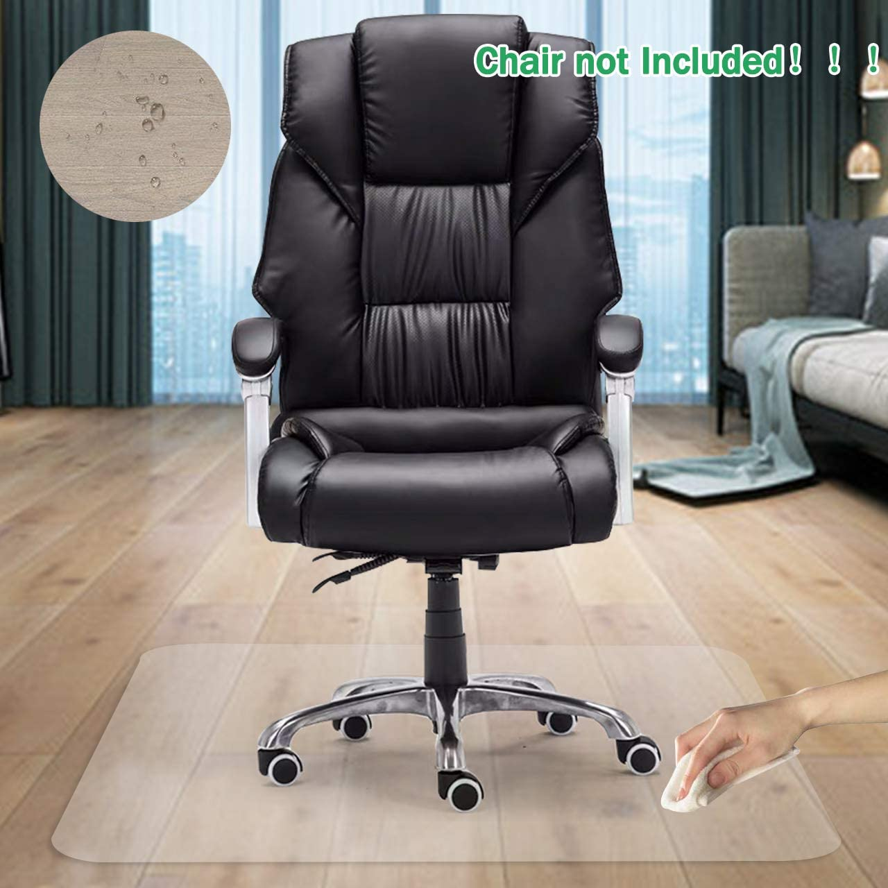 "GeeWin Home Office Chair Mat for Hardwood Floor, 30'' x 48'' Clear Floor Mat for Rolling Chairs, Floor Protector Thick Durable Chair Mat Chairmats (30"" X 48"" Rectangle)"