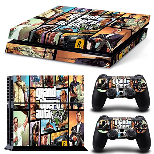 Ambur® PS4 Console Designer Skin for Sony PlayStation 4 System plus Two(2) Decals for: PS4 Dualshock Controller --- Grand Theft Auto V 5 Game Series GTA V 5 (5 Online Auto Grand Code Theft)