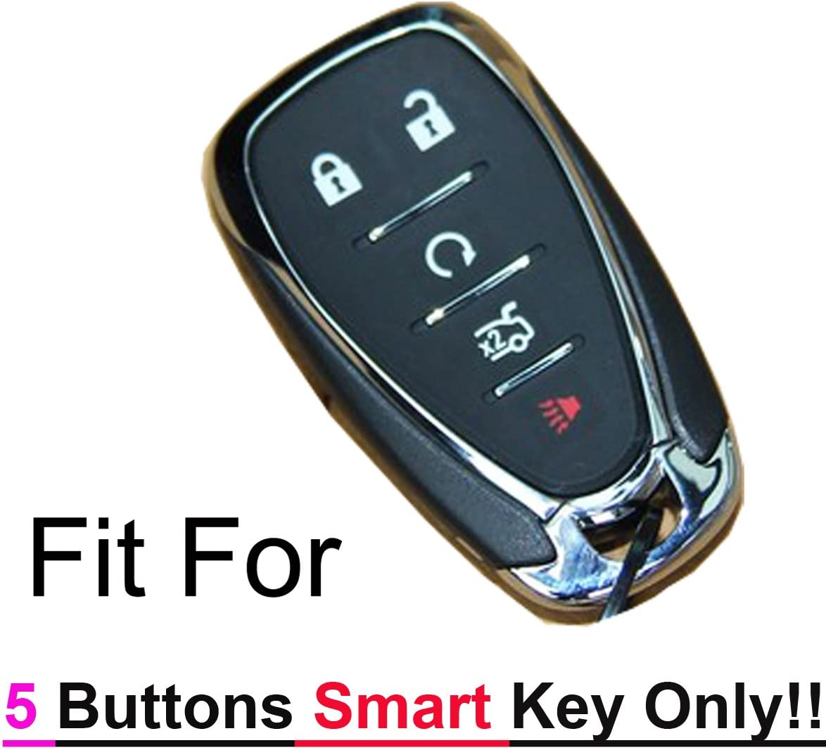 2 Qty Alegender Silicone 5 Buttons Smart Key Cover Case Fob Holder Bag Keyless Protector Fit for 2017 2018 2019 Chevy Malibu Camaro Sonic Cruze Volt Equinox Chevrolet HYQ4EA