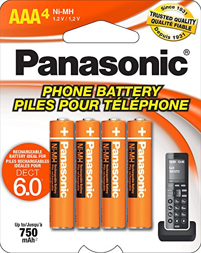 Panasonic Energy Corporation HHR-4DPA/4B Panasonic Genuine AAA NiMH Rechargeable Batteries for DECT Cordless Phones, 4 Pack