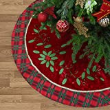 Valery Madelyn 48' Traditional Holly Leaves Christmas Tree Skirt with Tartan Trim,Themed with Christmas Ornaments (Not Included)