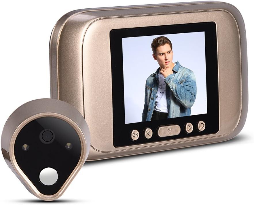 Garsent Timbre de Video inalámbrico, cámara de Visor de Puerta Digital HD con grabación de Fotos, 1MP Timbre de ángulo Visual de 160 ° Visera Inteligente Timbre Visual Digital