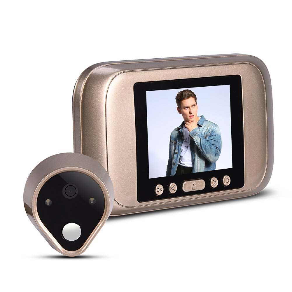 Richer-R Peephole Camera, Door Viewer With 3.2 Inches LED Doorbell Function 1MP HD Home Safeguard Smart Viewer Digital Visual Doorbell with 90 Degrees Viewing Angle