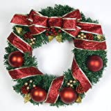 Christmas Garland for Stairs fireplaces Christmas Garland Decoration Xmas Festive Wreath Garland with Christmas wreath Red wreath vine,60cm