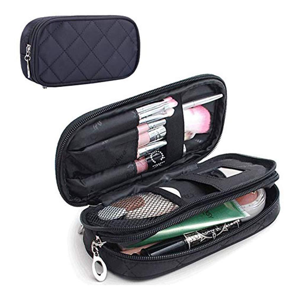 home-neat borsa per il trucco con specchio Hold pennelli professionali multifunzionale a strati per trucchi per donne nero