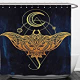 Interestlee Shower Curtain Psychedelic Mystic Alchemy Symbol Hidden Sign of Universe Holy Science Artful Image Petrol Blue Yellow