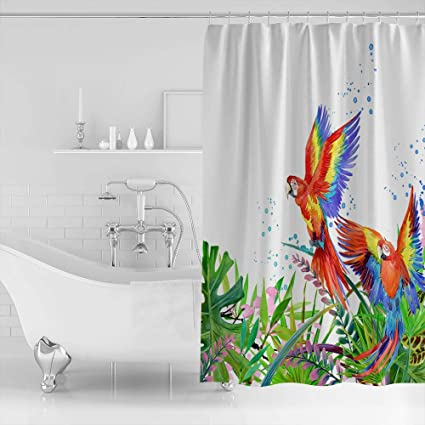 Bathroom Fabric Shower Curtain Include 12 Hooks Set Water Resistant Decor