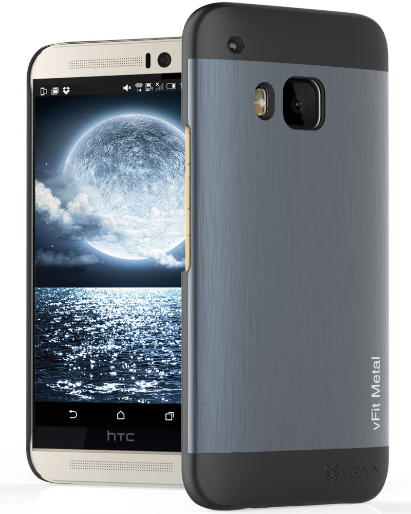 HTC One M9 Case, Vena [vFit] Metal Brushed Aluminum Durable Slim Fit Case Hard Cover for HTC One M9 (2015) - Space Gray & Black